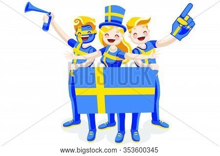 Crowd Of Persons Celebrate National Day Of Sweden With A Flag. Swedish People Celebrating A Football