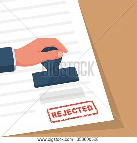Rejection Stamp In Hand Businessman. Red Approved Stamp. Document For Signature And Stamp. Vector Il