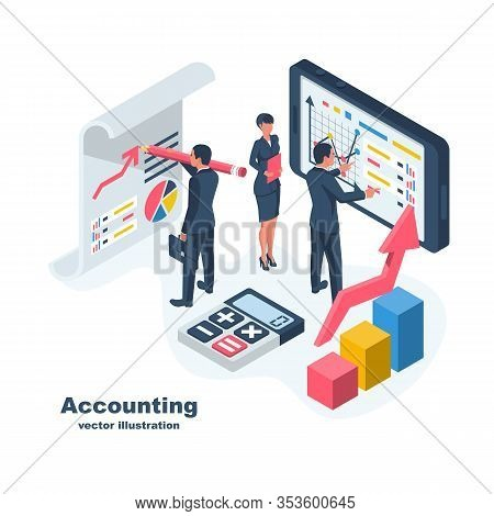 Accounting Concept. Teamwork On Accounting, Planning Strategy, Analysis, Marketing Research, Financi
