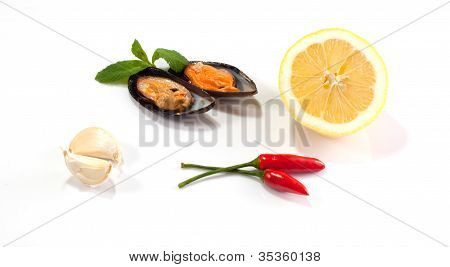 Mussels lemon and chilli on a white background poster