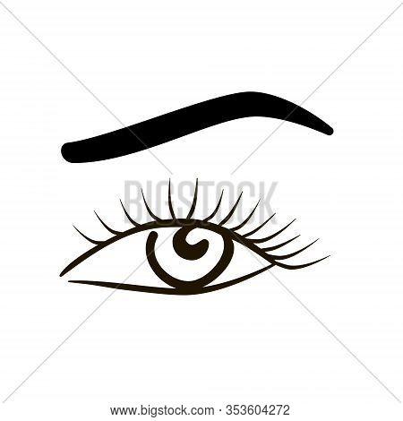 Eye On White Background. Woman Eye And Eyebrow. The Eye Logo. Eyes Art. Human Eye