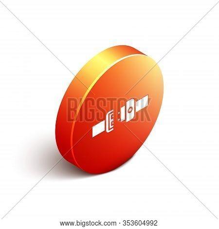 Isometric Safety Belt Icon Isolated On White Background. Seat Belt. Orange Circle Button. Vector Ill