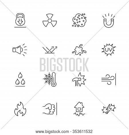 Influence, Impact, Effect Outline Icons Set - Black Symbol On White Background. Influence, Impact, E