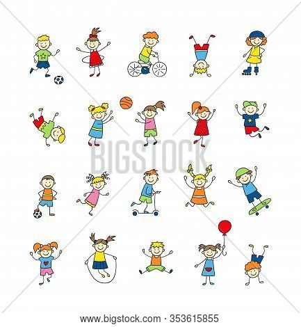 Funny Small Kids Play, Run And Jump. Cute Doodle Children, Boys And Girls. A Set Of Color Isolated C