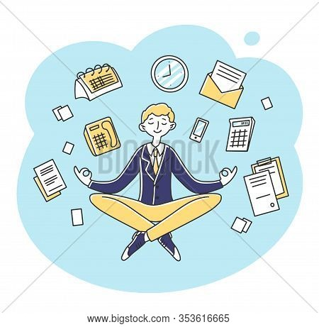Businessman Meditating At Workplace Flat Vector Illustration. Entrepreneur Character Practicing Zen