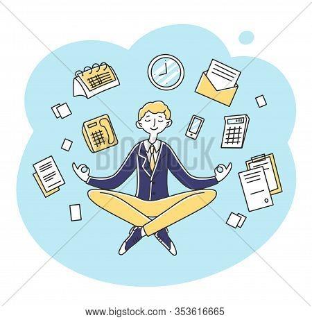 Businessman Meditating At Workplace Flat Vector Illustration. Entrepreneur Character Practicing Zen