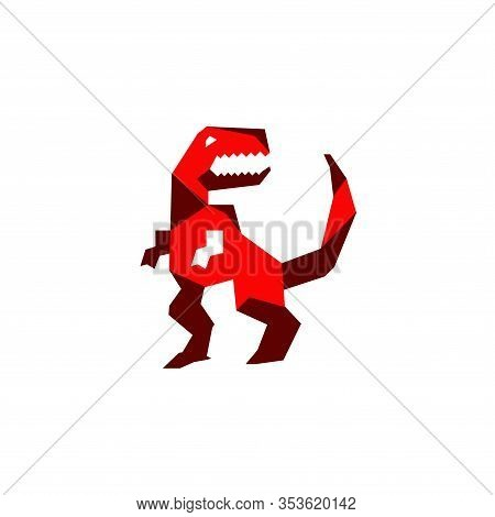 Vector Illustration Of A T-rex Geometric Cartoon Character. T-rex Is A Predatory Carnifora Predator