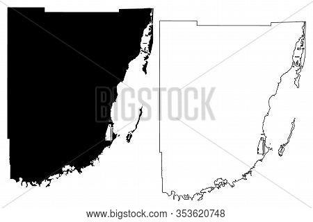 Miami-dade County, Florida (u.s. County, United States Of America,usa, U.s., Us) Map Vector Illustra
