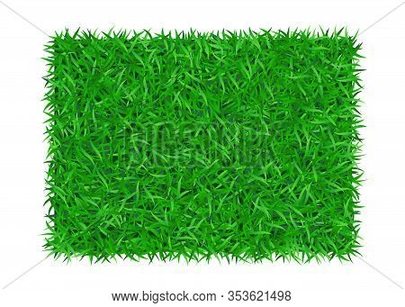Green Grass Background 3d. Lawn Greenery Nature. Abstract Soccer Field Texture, Rectangle Frame, Squ