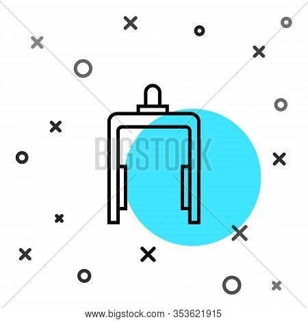 Black Line Metal Detector In Airport Icon Isolated On White Background. Airport Security Guard On Me