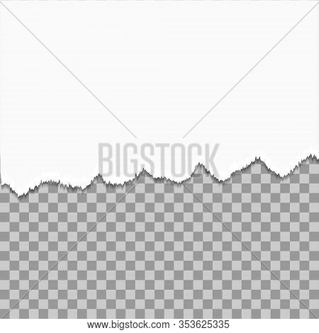 Torn A Half Sheet Of White Paper From The Bottom. Isolated On Transparent Background. Mockup Paper D