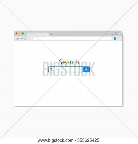 Simple Search Internet Browser Window Isolated On White Background. Browser With Search Bar Field An