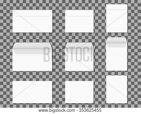 Envelopes A4. Closed And Opened Paper White Envelopes For Vertical, Horizontal Letters On Transparen
