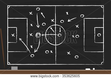 Soccer Strategy On The Black Board With Point Stick, Washcloth And Chalks. Drawing Tactical Scheme F