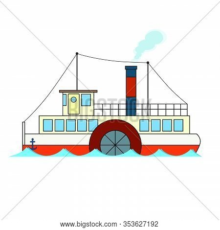 Retro Passenger River Steamboat In Cartoon Style On A White Background.
