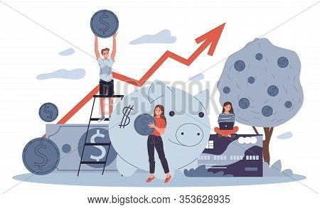 Business People Investing Into High Potential Project Vector Illustration. People Taking Online Cred