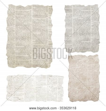 Set Of Torn Newspaper Pieces Isolated On White Background. Old Grunge Newspapers Textured Paper Coll
