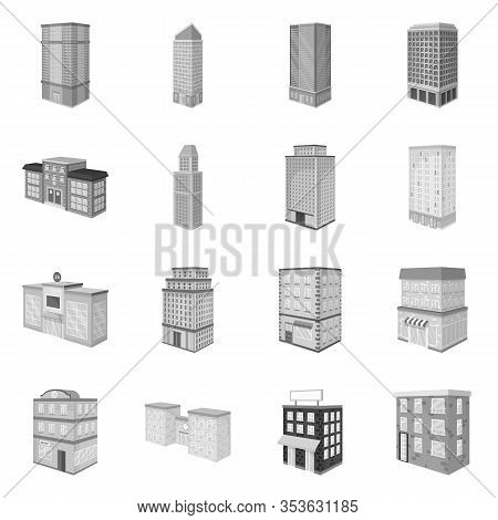Vector Illustration Of Realty And Modern Icon. Set Of Realty And Building Vector Icon For Stock.
