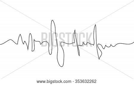 Human Heart And Rhythm Silhouette, Single Continuous Black Line. Healthy, Medicine. Sketch, Outline