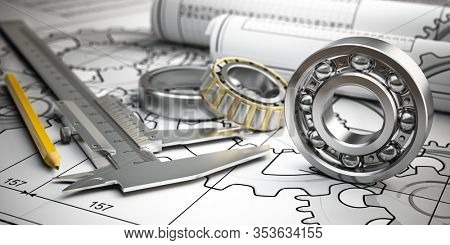 Bearings with trammel and pencil on technical drawing. Engineering, industrial and production concept. 3d illustration