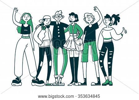 Teen Friend Team. Group Of Teenage Girls And Guys Standing Together, Waving, Hugging Flat Vector Ill