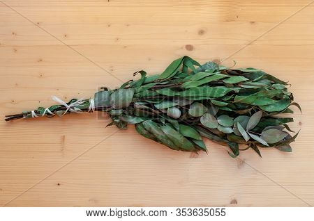 Eucalyptus Bath Broom, Eucalyptus Whisk. Natural Saunas Broom. Broom For Relaxing Health Is Lying On