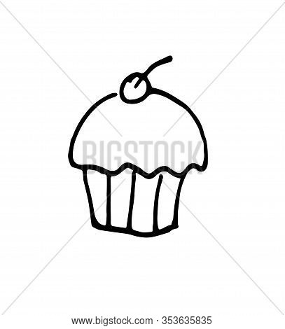 Muffin Hand Drawn Outline Doodle Icon. Vector Sketch Illustration Of Muffin