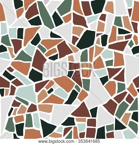 Terrazzo Flooring Seamless Pattern. Pastel Colors. Marble Mosaic Made In Colored Polished Pebble. Ve
