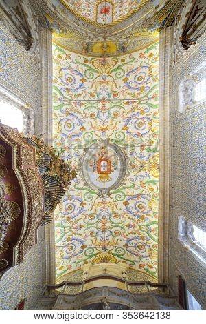 Coimbra, Portugal - Sept 6th 2019: Ceiling Of University Chapel Or Capela De Sao Miguel Chapel. Tour