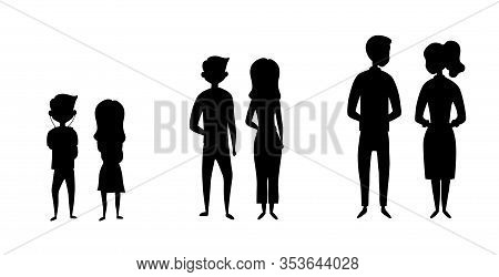 Set Of People Characters In A Different Age. Black Silhouettes Men And Women In Different Age. Cute