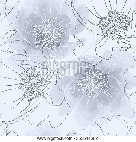 Anemone Watercolour Seamless Pattern In Hand Drawn Style. Mix-media Design. Digital Painting And Wat