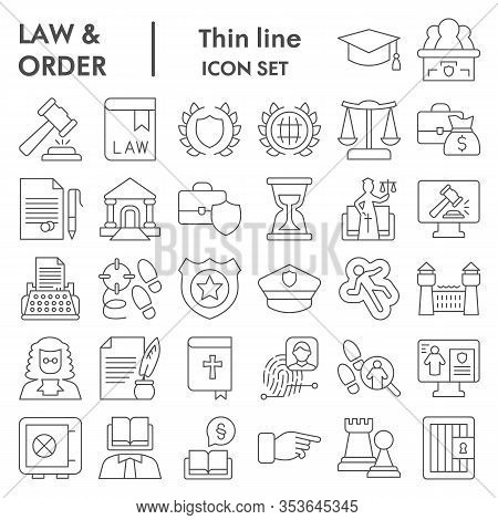 Jurisprudence Thin Line Icon Set, Law And Order Collection, Vector Sketches, Logo Illustrations, Web