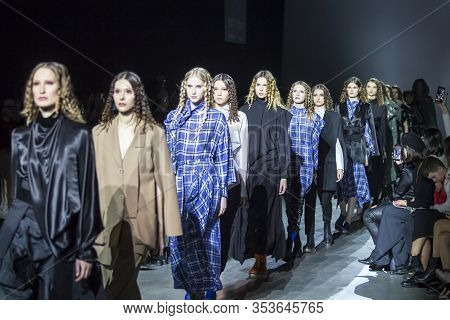 Kyiv, Ukraine - February 1, 2020: Julia Kros Collection Show During Ukrainian Fashion Week Fw20-21 A