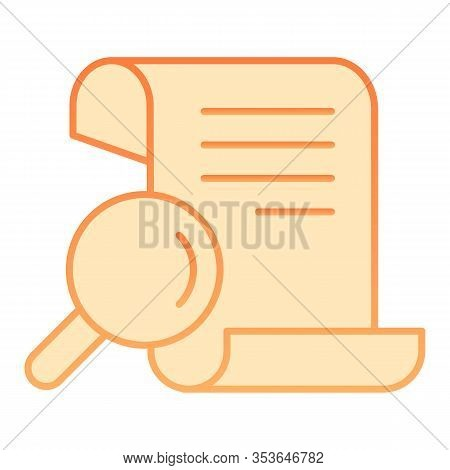 Papyrus Search Flat Icon. Manuscript And Magnifier Vector Illustration Isolated On White. Search Scr