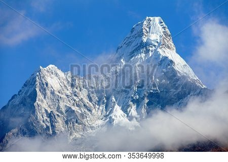 Mount Ama Dablam Within Clouds, Way To Everest Base Camp, Khumbu Valley, Sagarmatha National Park, E