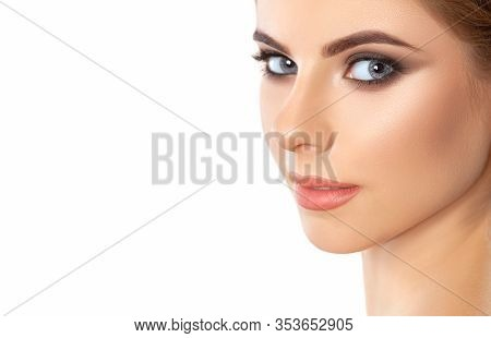 Beautiful Woman With Long Eyelashes, Beautiful Make-up And Thick Eyebrows. Beautiful Grey Eyes Close