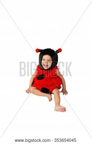 Toddler Wearing Ladybug Costume Playing Happy Smiling Fun Activity Isolated White Background