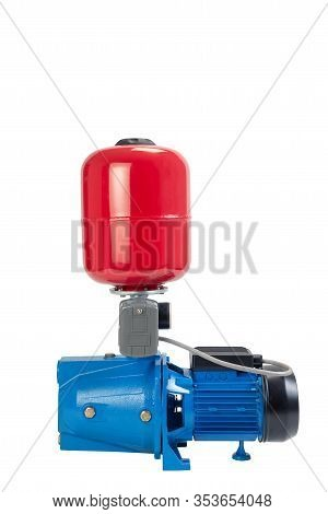 Water Pump Air Tank Attached Complete Guage Isolated White Backgrouund Red And Blue