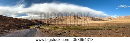 Pamir Highway Or Pamirskij Trakt. Landscape Around Pamir Highway M41 International Road With Beautif