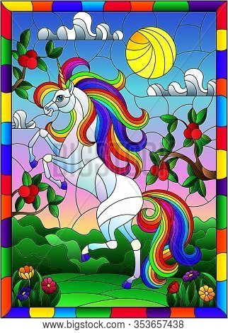 Illustration In Stained Glass Style With A Bright Unicorn On The Background Of Apple Trees, Cloudy S