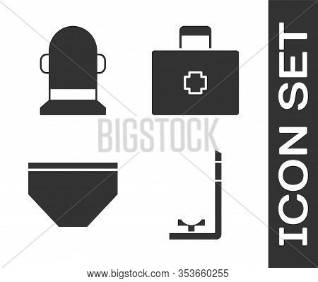 Set Snorkel, Buoy, Swimming Trunks And First Aid Kit Icon. Vector