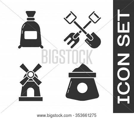 Set Bag Of Flour, Bag Of Flour, Windmill And Shovel And Rake Icon. Vector