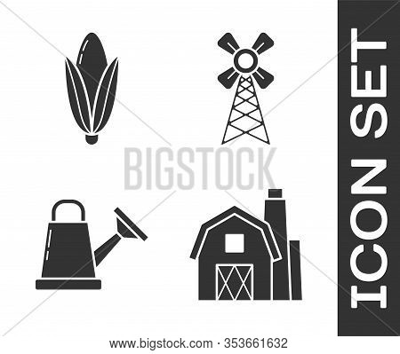Set Farm House Concept, Corn, Watering Can And Windmill Icon. Vector