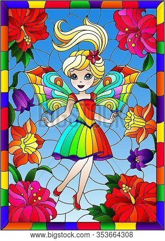 Illustration In Stained Glass Style With Cute Cartoon Fairy In A Bright Rainbow Dress On The Backgro
