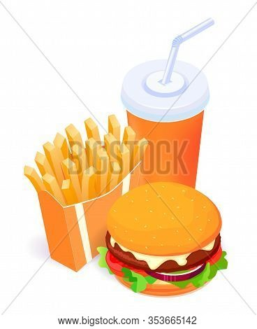 Vector Illustration Of Isometric Food - Burger, French Fries And Cola Isolated On White Background