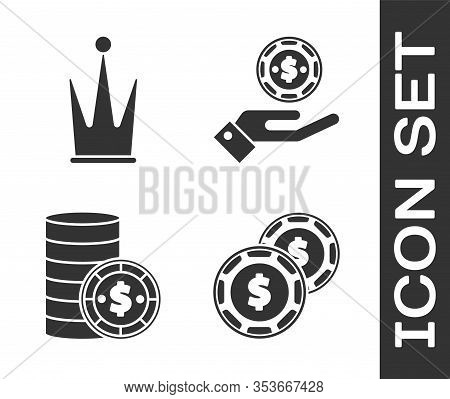 Set Casino Chip With Dollar, Crown, Casino Chip With Dollar And Hand Holding Casino Chips Icon. Vect