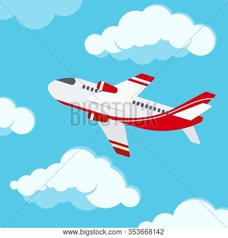 Airplane In The Sky Vector Illustration. Flat Design Cartoon Style Travel Or Vacation Concept Of Mod