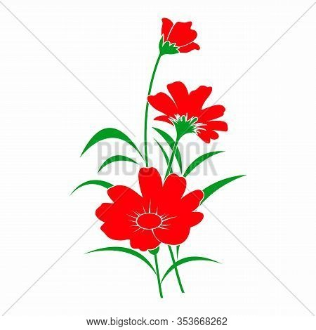 Graphical Flower Illustration. Green Flower, Red Flower, Contour Flower, Bloom Flower, Decorative Fl