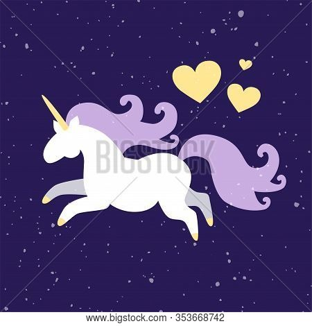 Vector Kids Illustration Of Magic Fat Unicorn Horse Galloping On Starry Night Sky Speckles Backgroun