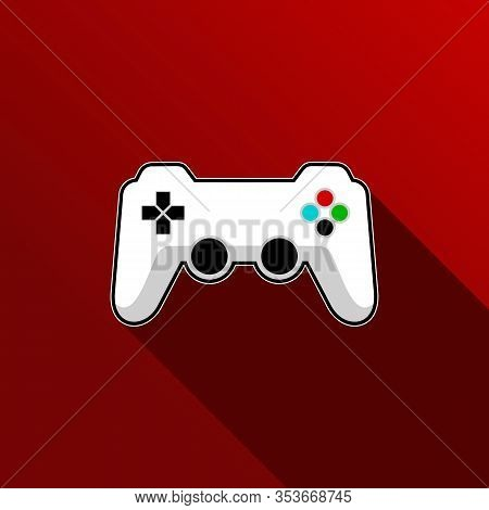 Game Of Joystick Vector Icon.cartoon Vector Icon Isolated On Red Background Game Of Joystick.